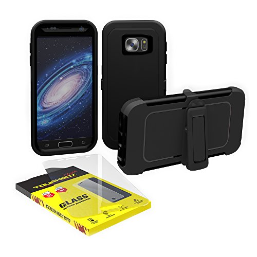 Galaxy S7 Case, ToughBox [Armor Glass Series] [Shockproof] [Black] for Samsung Galaxy S7 Case [Tempered Glass Screen Protector] [Holster & Belt Clip] [Fits OtterBox Defender Series Clip]