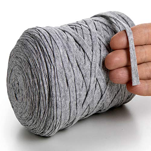 MeriWoolArt - Hilo de algodón para tejer, macramé, ganchillo, cinta de regalo navideña, hilo textil de 10 mm, 150 m, color gris claro