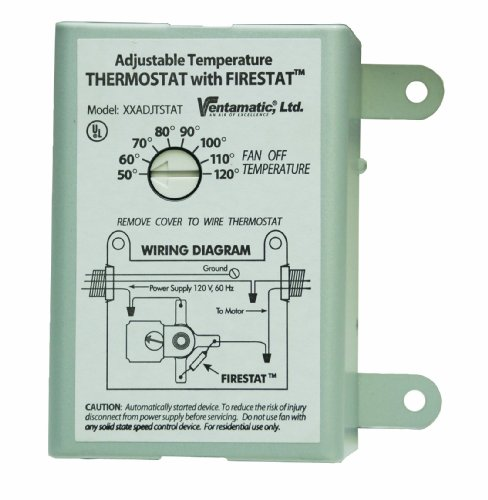 Ventamatic XXFIRESTAT 10-Amp Adjustable Programmable Thermostat with Firestat for Power Attic Ventilators, Replacement Thermostat , White