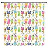 N/O NELTEG Duschvorhang Mädchen Duschvorhang rosa Kuchen Regenbogen Dessert Creme Bad Vorhang gedruckt Badezimmer wasserdicht Polyester Display
