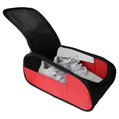 Golf-Schuhbeutel für Outdoor-Aktivitäten, Reiseschuhe, Tasche mit Reißverschluss, Rot