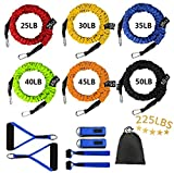 Sunsign 12-Pcs Stackable Resistance Band Kit Extreme Workout Total-Body Training Home Gym Best for Beginner Professional Blue