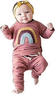 0-3 Años,SO-buts Recién Nacido Bebé Niño Niñas Otoño Invierno Sudadera Con Estampado De Arcoíris Tops Conjunto De Conjunto...