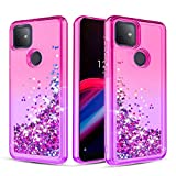Donse for T-Mobile Revvl 4 Plus Case,TCL Revvl 4 Plus Case Glitter Clear Bling Quicksand Slim Shockproof Protective for Girls/Women (Pink/Purple)