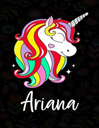 Ariana: Cuaderno de dibujo grande unicornio para niña con nombre personalizado y diseño de kawaii unicornio , regalo de cumpleaños y navidad o San Valentín.