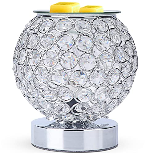 SALKING Crystal Wax Melt Warmer with Timer, Electric Wax Warmer for Scented Wax,Candle Warmer Oil Burner with 2 Edison Bulbs, Fragrance Warmer Wax Cubes for Home,Bedroom, Birthday Gifts(Silver)