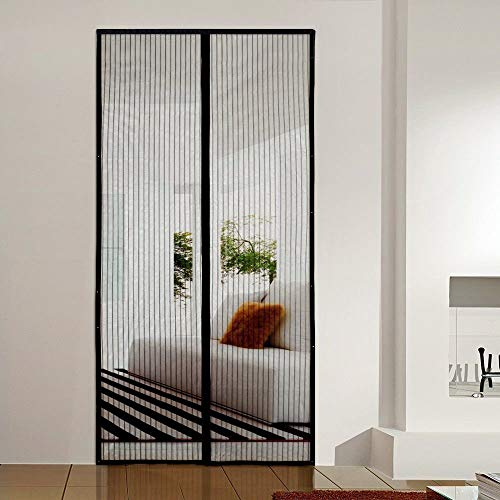 AMCER Screen Doors 57x86inch, Anti Mosquito Magnetic Soft Door, Full Frame Seal, Easy to Install - Black