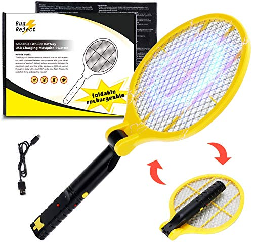 Nobite Fly Killer Bug Zapper Rechargeable Foldable Swatter - Portable Mosquito Killer - High Voltage Handheld Pest Controller - LED Flashlight, 3-Layer Safety Mesh for Outdoor/Indoor/Travel/Camping