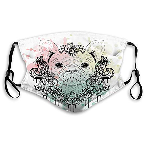 French Bulldog with Floral Wreath on Brushstroke Watercolor Face Mask Reusable Washable Masks Cloth for Children and Teen Size:S