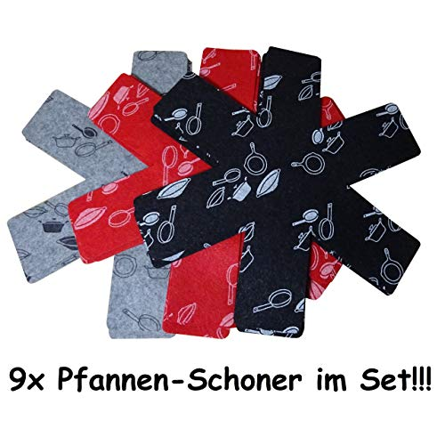KP 9X Pfannenschutz Pfannen Einlage Stapelschutz Kratzschutz Pfannenschoner rot schwarz grau