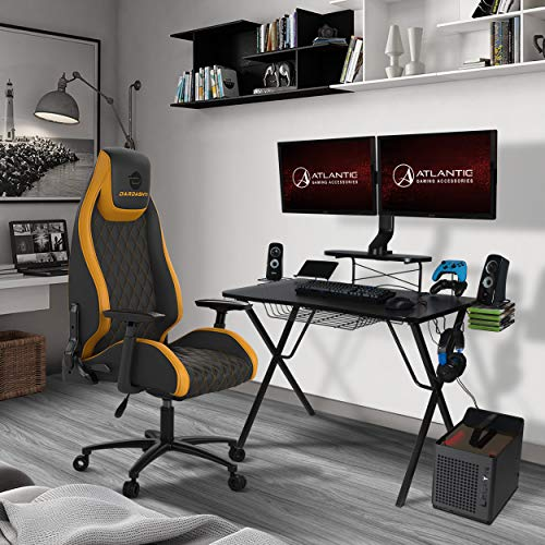 Atlantic Gaming Original Gaming-Desk Pro - Curved-Front, 10 Games, Controller, Headphone & Speaker Storage, 40.25x23.5 Curved Front Desktop, Enhanced larger Design