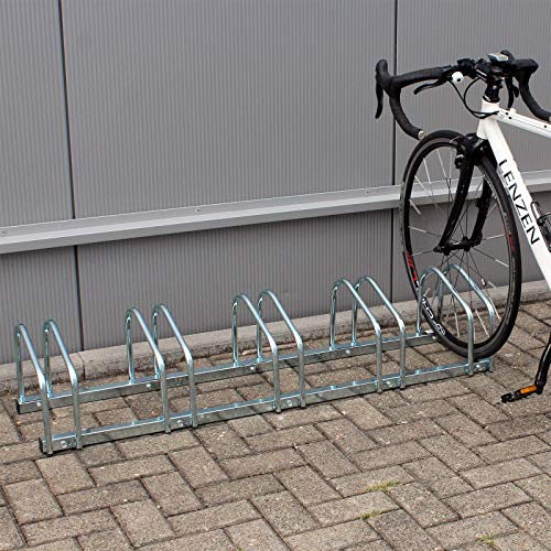 WilTec Râtelier au Sol pour 5 vélos 1305x320x265mm en métal galvanisé Bicyclette