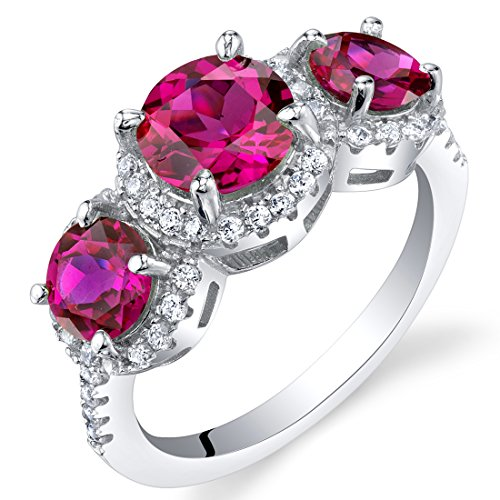 Created Ruby Sterling Silver 3 Stone Halo Ring Size 6