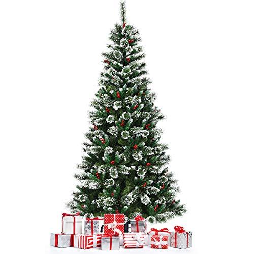 DREAMADE Albero di Natale innevato e Non Illuminato, Abete Artificiale con Bacche Rosse, con Base Pieghevole di Metallo, Perfetto Come Decorazione (210 cm)