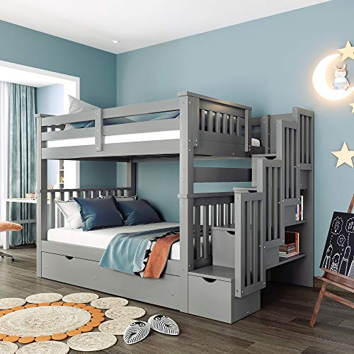 Full Over Full Bunk Bed with 6 Storage Drawers, Shelves, Stairway and Guard Rail - Solid Wood Full Bunk Bed for Kids/Teens Bedroom/Guest Room Furniture
