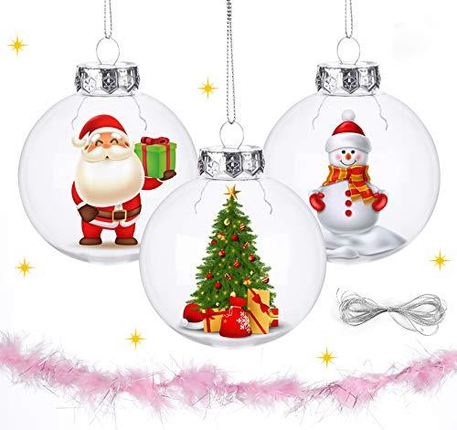 Lemonfilter 12 Pcs Clear Ornaments Balls, Transparent Christmas Balls Plastic Fillable Bauble Christmas Decorations Tree Ornament Balls 80mm