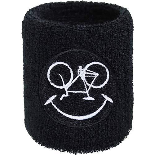 Fitness Fahrrad Schweissband Smiley Mountainbike Stickerei Schweißband Bestickt & Absorbierendes Frottee Speedbiker Handgelenk Arm Schwarz Downhill Wristband Kinder Geschenk Prüfung Schweiß-Armband