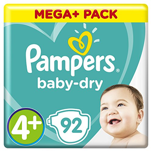 Pampers Baby-Dry Windeln Größe4+ (10–15kg), Luftkanäle für atmungsaktive Trockenheit die ganze Nacht, extra saugfähig, Mega Plus Pack, 1er Pack (1 x 92 Stück)
