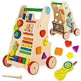 Kinderplay trotteur bebe, chariot de marche en bois - trotteur bebe garcon - trotteur bebe fille, formes à encastrer, téléphone, chariot de marche bebe, pour enfants, trotteur pousseur, GS0030