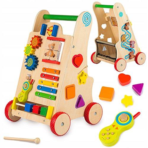 Kinderplay Lauflernwagen Holz, Hölzerne Lauflernhilfe - Laufwagen, Schiebespielzeug, Sortierer, Telefon, Lauflerngerät, GS0030
