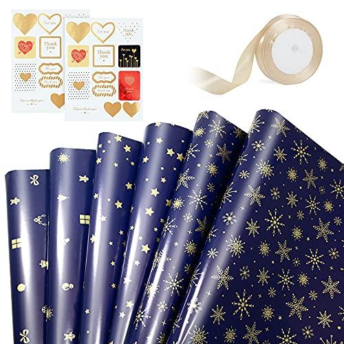 APERIL Set di Carta da Regalo, 6 Fogli di Carta da Regalo in Oro Blu, 2 Fogli di Adesivi, 1 Rotolo di Nastro Dorato per Compleanno Matrimonio Ringraziamento Natale-Blu