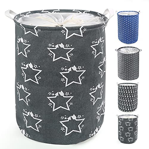 LEADSTAR Cesto Ropa Sucia,Grande Cesta para Ropa Pelegable con Asas y Cierre cordón,Cestos para la Colada para Ropa Juguetes Baño Dormitorio (Stars)