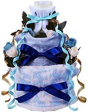 ラルフローレン オーガニック ホワイト おむつケーキ 男の子 出産祝い タオル (パンパース テープS21枚)
