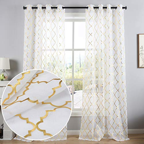 Kotile Gold Moroccan Tile Print Semi Sheer Curtains for Bedroom - Solid White Voile Grommet Top Window Drapes for Kids Room, 52 x 84 Inch, 2 Panels
