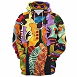 Mezcla de gradiente Multicolor Digital Color Impresión personalidad Casual Suéter con capucha Hombres y mujeres Primavera y gráficos de otoño Novel Pullover Hoodie (Color : B, Size : S)