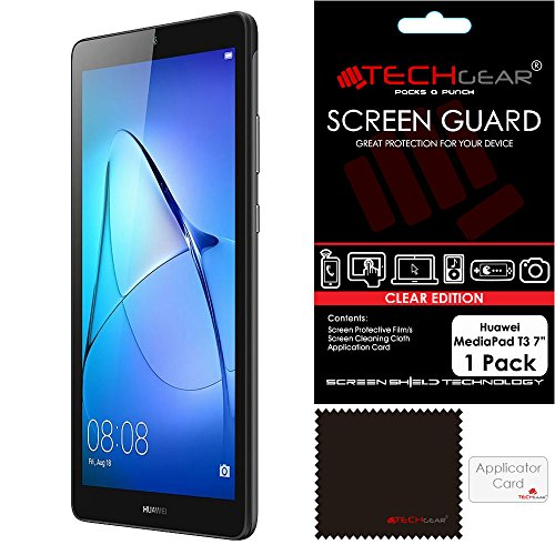 TECHGEAR Screen Protector for Huawei MediaPad T3 7' - Ultra Clear Screen Protector Guard Cover with Screen Cleaning Cloth & Application Card