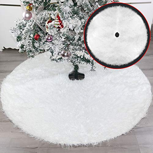 Falda de árbol de Navidad, cubierta de base de alfombra de árbol de felpa suave blanca con borde redondo Decoraciones de faldas de árbol de Navidad, para Navidad Festival de Navidad (78cm Dia.)