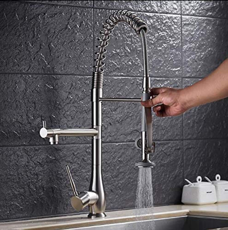 Küchenarmatur Nickel Gebürstet Messing Pull Down Frühling Küchenspüle Wasserhahn Schwenkauslauf Hochbehlter Mischbatterie