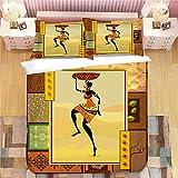 YYANG Juegos de Fundas Funda Nórdica Establece 3D Belleza Africana Lecho De La Impresión del Sistema El 100% Poliéster 1 Funda Nórdica Set Y 2 Fundas 3pcs H-UK King230*220cm