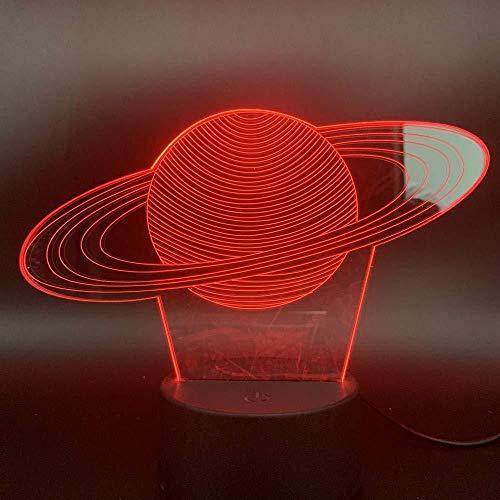 Nachtlicht Sonnensystem Saturn 3D-Licht Vision Lichteffekt Batterie Manövrieren Schön für Teenager Führende Nachtlichter