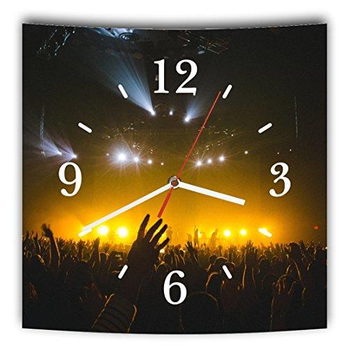 LAUTLOSE Designer Wanduhr mit Spruch Schwarz Gelb Festival Konzert Musik grau weiß modern Dekoschild Abstrakt Bild 29,5 x 28cm