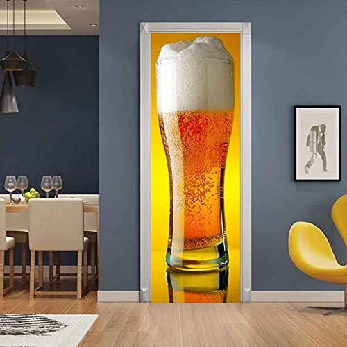 CBWRAW 3D Etiqueta De La Puerta Impermeable Extraíble Bricolaje Bebida De Cerveza Creativa Murales Foto Póster Autoadhesivos Papel Tapiz para Puertas Interiores del Dormitorio Decoracion 77x200cm