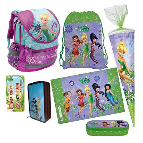 Disney Fairies Tinkerbell FEE ELFE 11 x Teile Set Schulranzen RANZEN Rucksack FEDERMAPPE FEDERTASCHE SCHULTÜTE