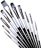 Paint Brushes Set for Acrylic Oil Watercolor, Artist Face and Body Professional Painting Kits with Synthetic Nylon Tips (Black, 10 pcs)