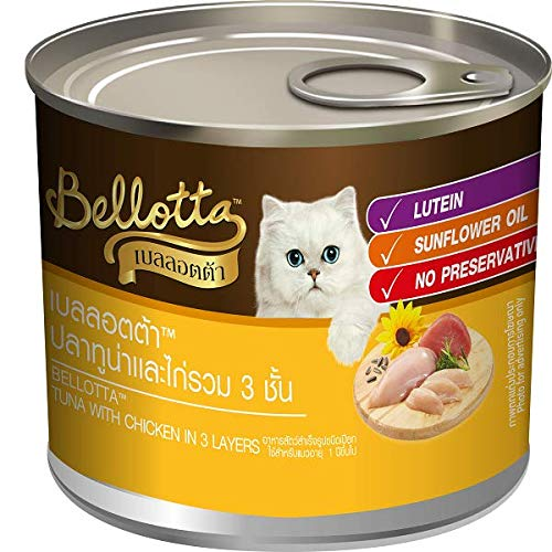 Bellotta DogsnCats Bellotta Wet Cat Food Tuna in Jelly Topping Chicken 3 Layers Tin 185g ( Pack of 10)