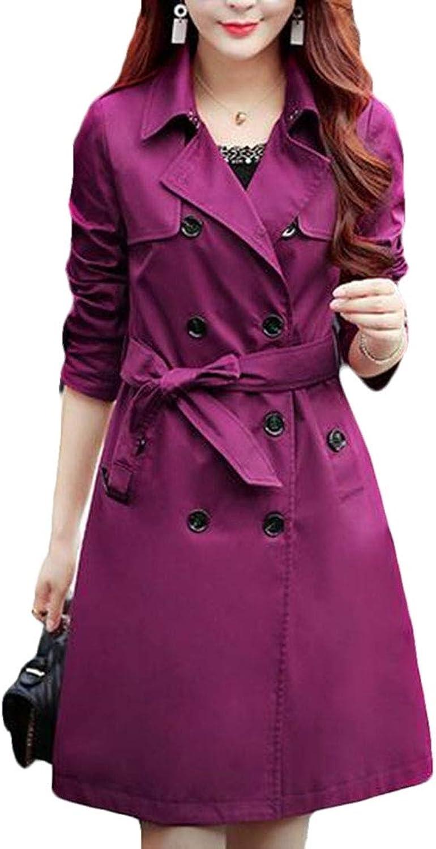 BYWX Women Longline DoubleBreasted Lapel Slim Windbreaker Trench Coat