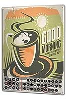 カレンダー Perpetual Calendar Coffee Cafe Bar good morning Tin Metal Magnetic
