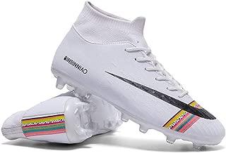 Los Zapatos Deportivos Copa del Mundo de fútbol para Adultos, Zapatos de Entrenamiento niños y los Adultos al Aire Libre Profesionales Botas de fútbol (Férula Larga de fútbol),White,38