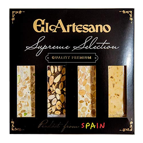 Pack de 4 Tabletas 70grs. El Artesano | Incluye: 1x Turrón de Jijona Artesano, 1x Turrón de Alicante Artesano, 1x...