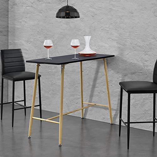 [en.casa] Tavolo Alto da Bar 110 x 50 x 90 cm Bancone Rettangolare con Gambe in Metallo con Effetto Legno Piano Tavolo in MDF - Nero