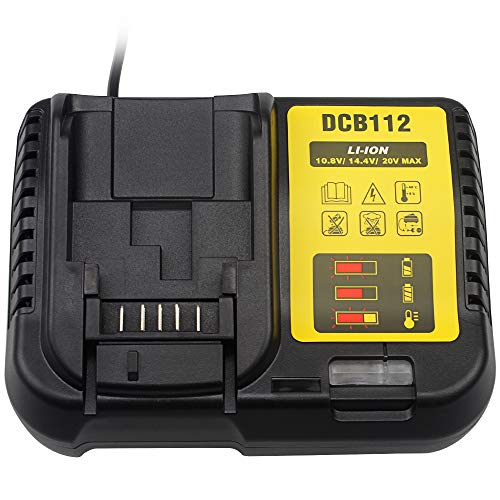Waitley Caricabatteria DCB112 per batterie Dewalt 10,8 V 14,4 V 18 V 2A Li-ion