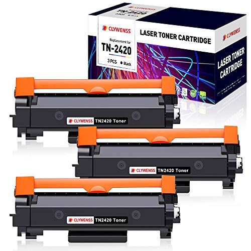 Clywenss TN2420 TN-2420 Cartuchos de tóner Compatible para brother TN2410 TN-2410 para Brother DCP L2510D L2530DW L2550DN HL L2310D L2350DW L2370DN L2375DW MFC L2710DN L2710DW L2730DW L2750DW, 3 Negro