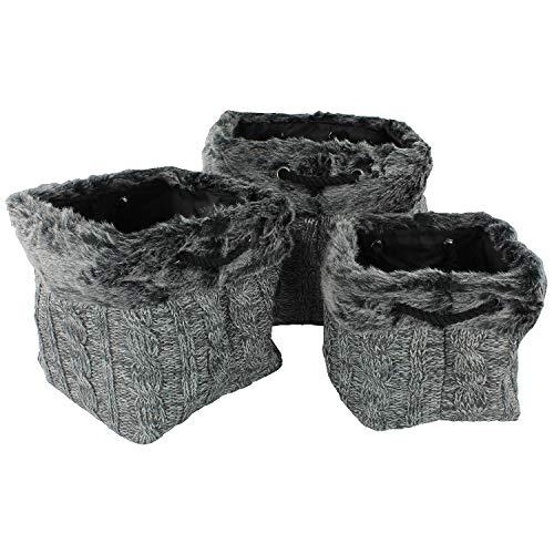 macosa wv440 Juego de 3 cestas Diseño de Punto de Piel sint