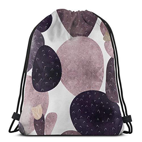 Lsjuee Shoulder Drawstring Bag Cactus Rose Dusty Rose Backpack Sport Bag String Bags School Rucksack Gym Lightweight