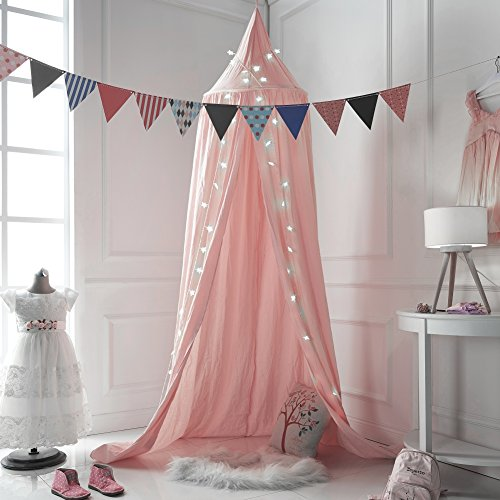 A LOVE BRAND 94.5×19.6 Inch Bed Canopy Cotton Mosquito Net for Kids,Pink