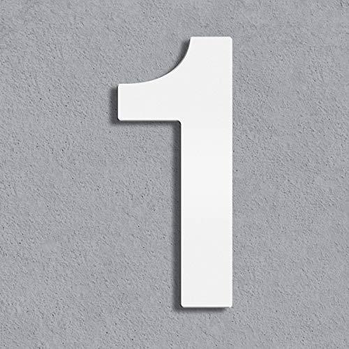 Thorwa® Design Edelstahl Hausnummer, weiß weiss beschichtet, inkl. Montagematerial/H: 160 mm/RAL 9003 / Witterungsfest (1)